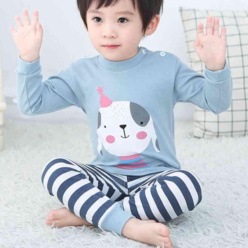 Cartoon Print Cotton Baby Pajamas Set - Sleepwear, Long Sleeve Tops Pants