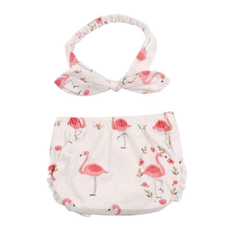 Newborn Baby Shorts & Headband Set-flamingo Pattern Diaper Cover