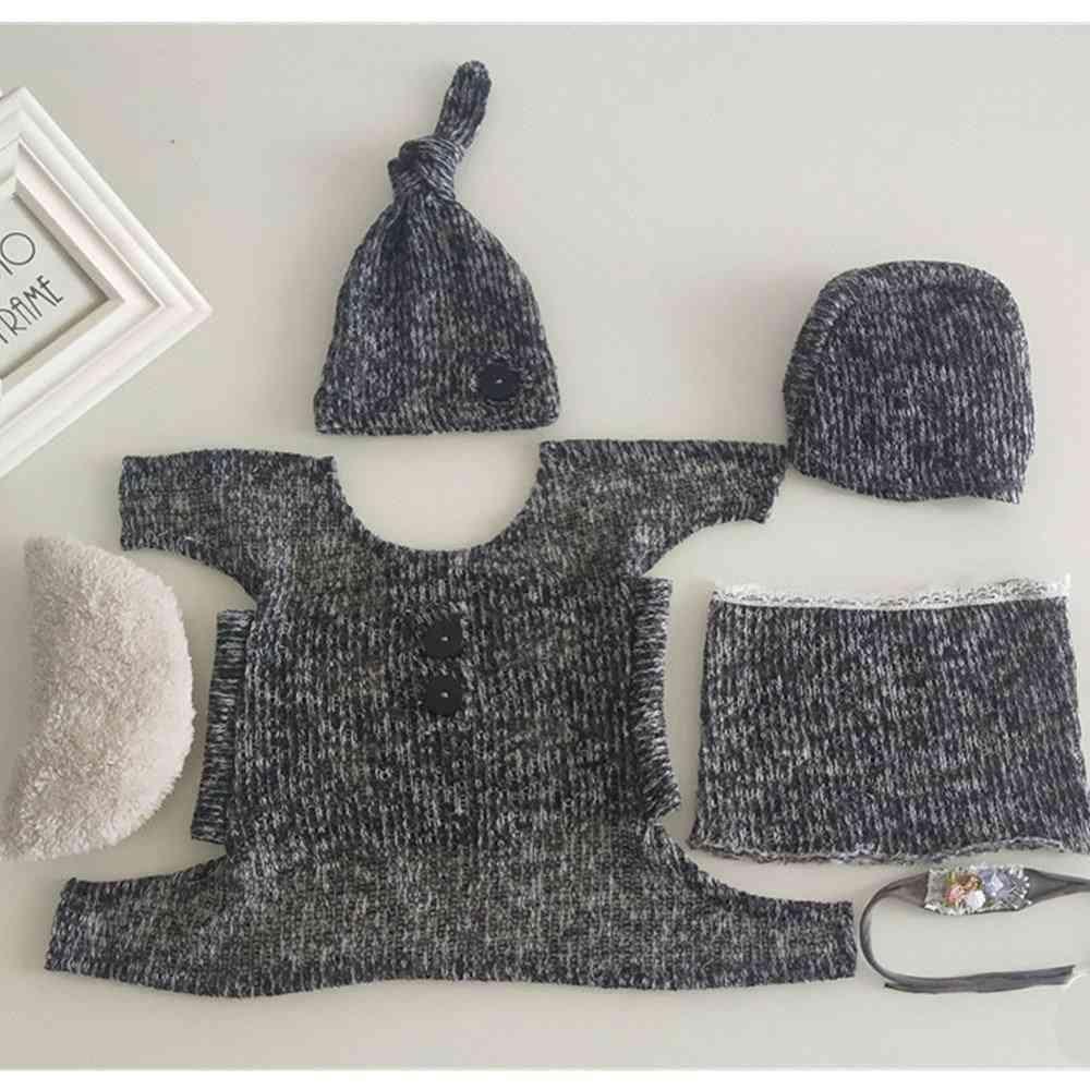 7pcs Set Of Newborn Photography Props- Stretch Wrap Top, Knot Hat, Headband