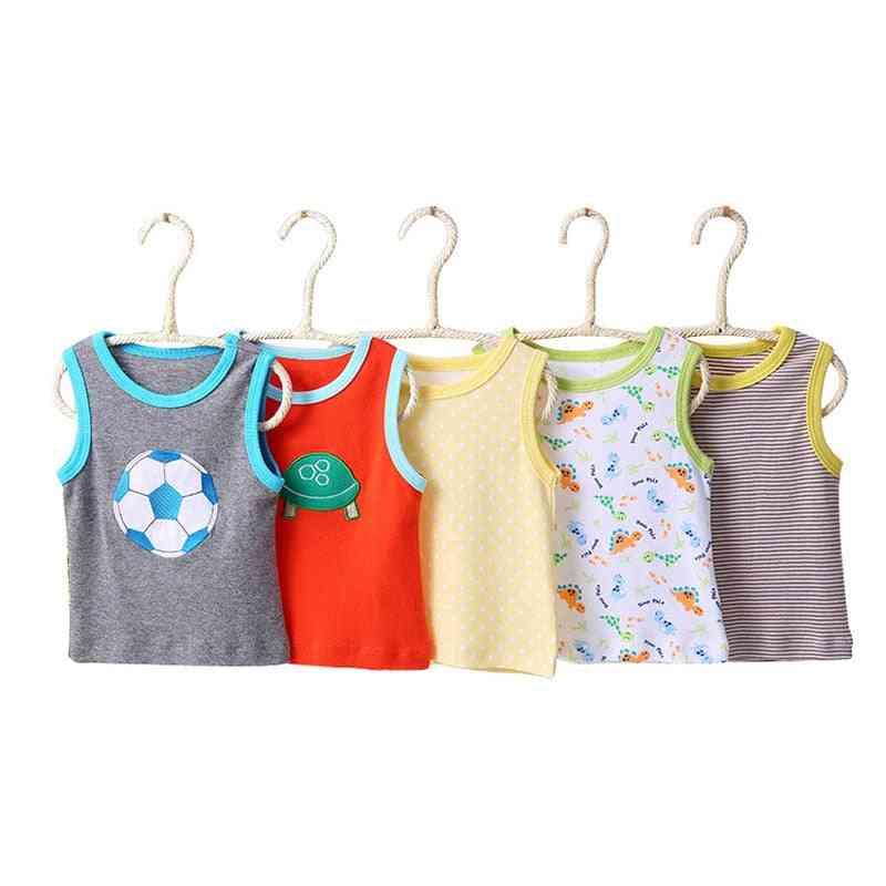 5pc Set Of Sleeveless, Cartoon Print-vest T Shirt For Newborn