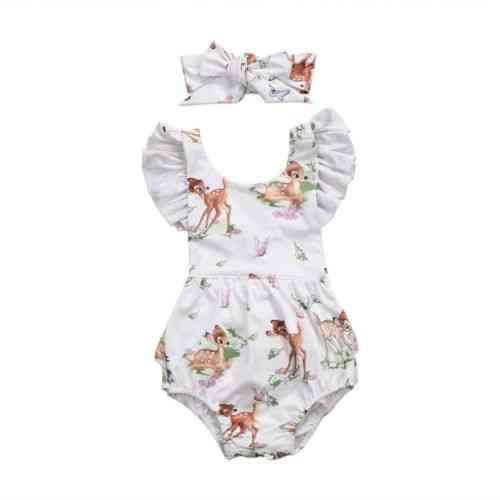 Fashion Newborn Toddler Infant Baby Deer Ruffles Romper Jumpsuit Clothes Outfits