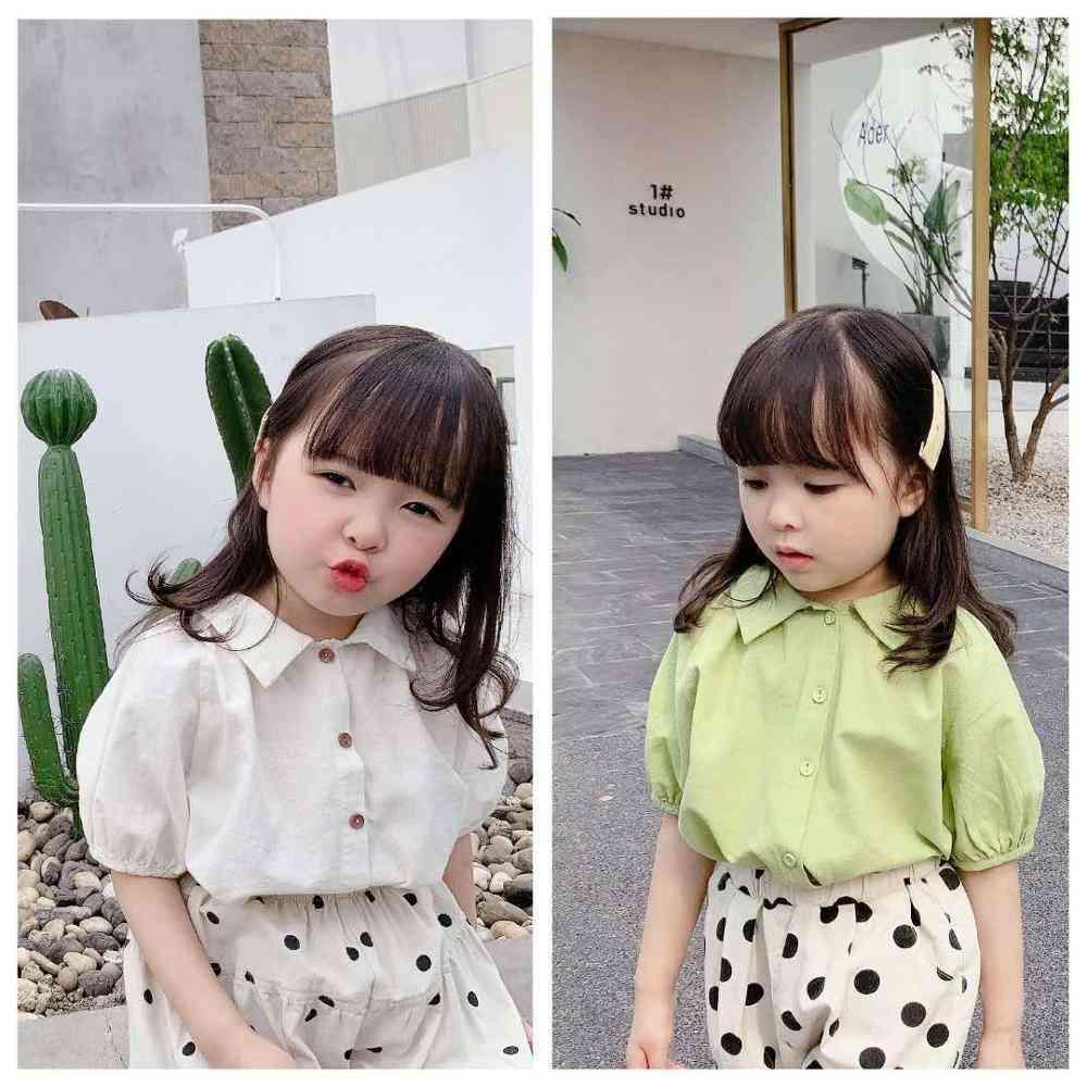 Children's Summer Clothing- Girl's Linen Cotton Short-sleeved Shirt