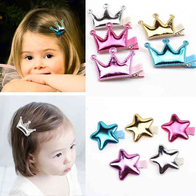 Cute Princess Style, Crown/star/heart Shaped, Glossy Texture Hair Side Clips