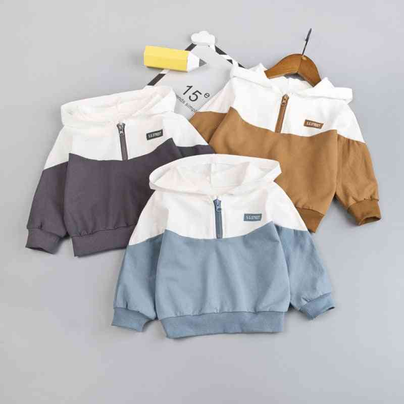 Half Zipper Casual, Hooded Pullover For Babies