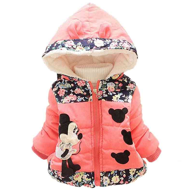 Winter Baby Jackets Clothes Hooded Coats, Toddler Warm Minnie Mickey Infant Outerwear