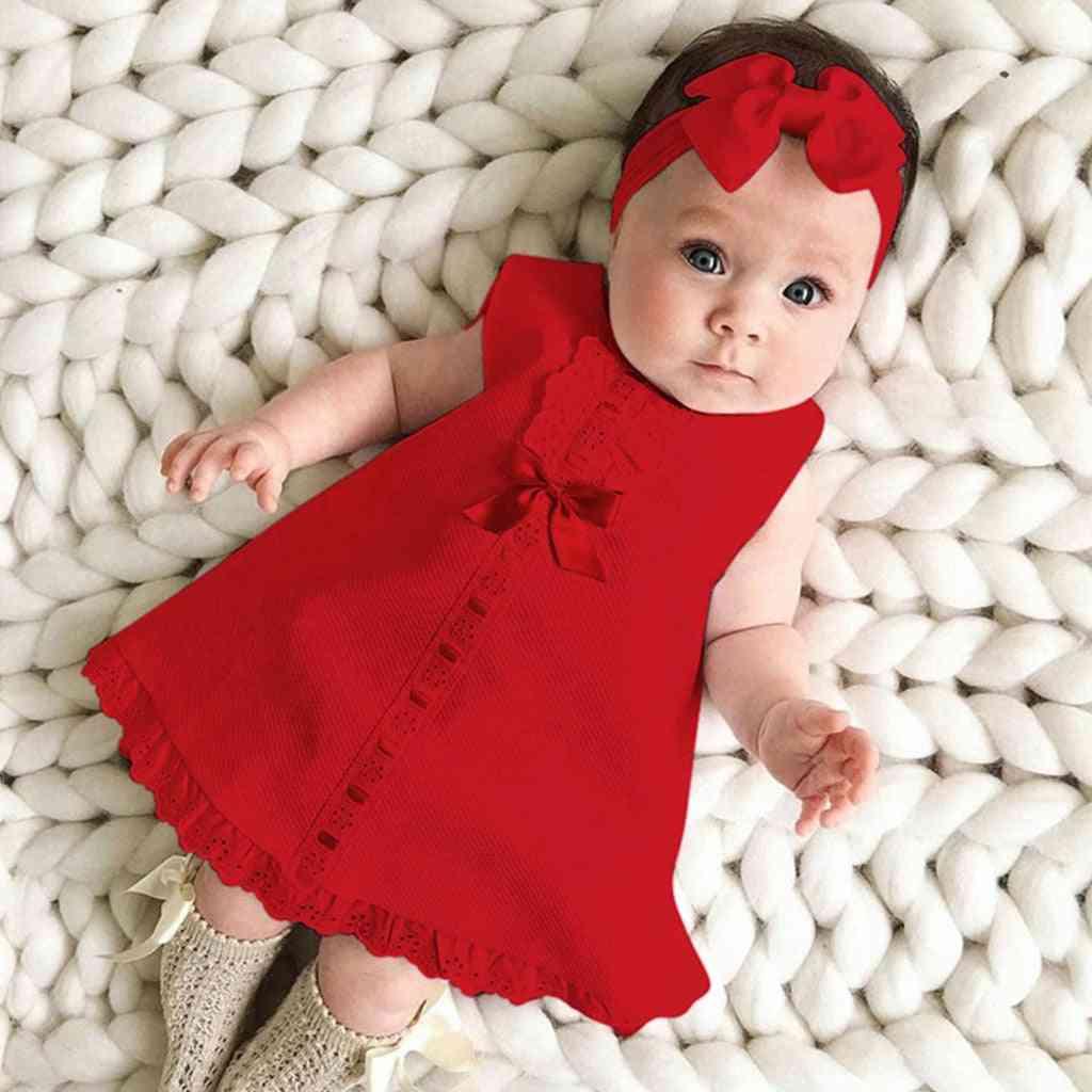 Newborn Baby Girl Sleeveless Casual Maxi Bow Dress And Headband Set