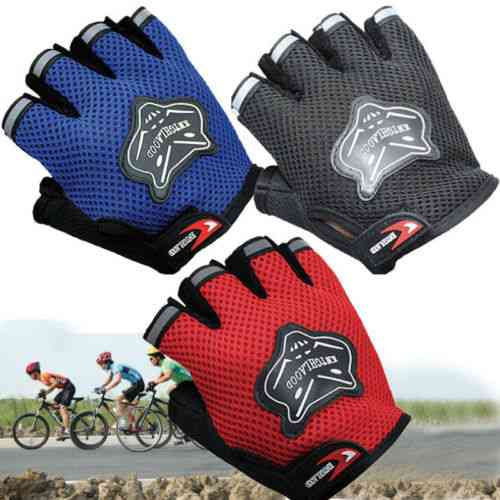 7-16y Kids Adults Bike Half Finger Gloves