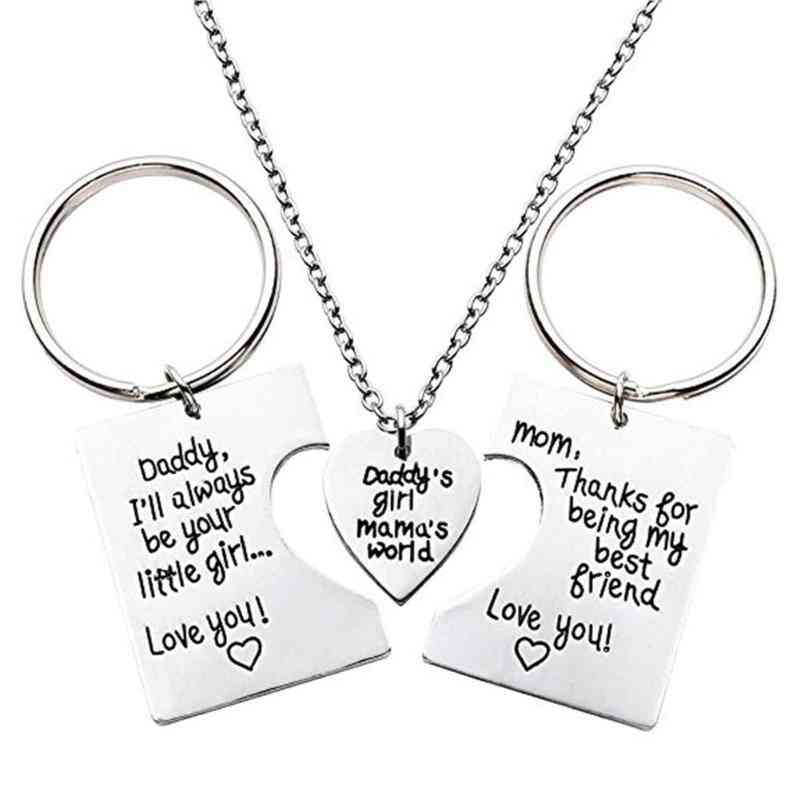 Daddy - Mama World Letters Pendant Love Necklace, From Titanium Steel
