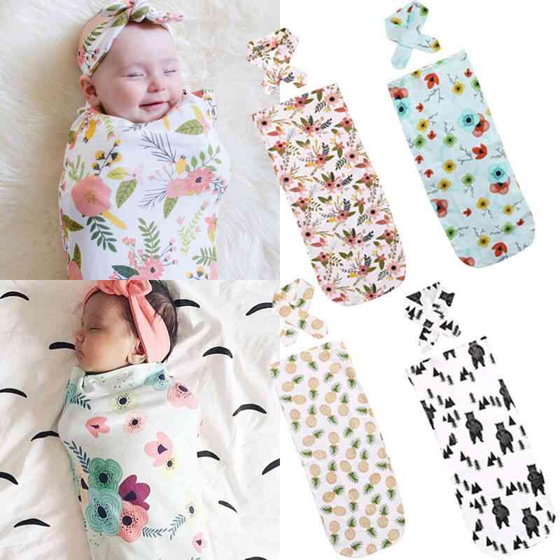 Newborn Cotton Receiving Blanket, Sleeping Bag With Headband