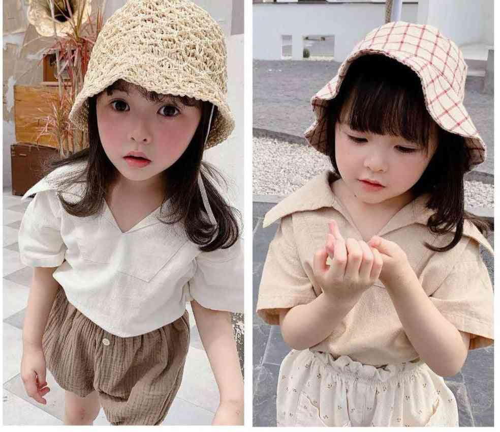 Children's Clothing, Cotton And Linen Large Lapel Short-sleeved Shirt