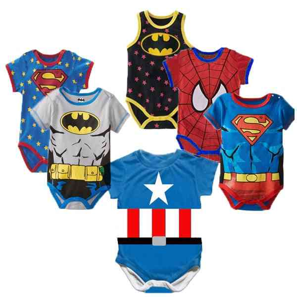 Superman Summer Baby Rompers With Short Sleeves