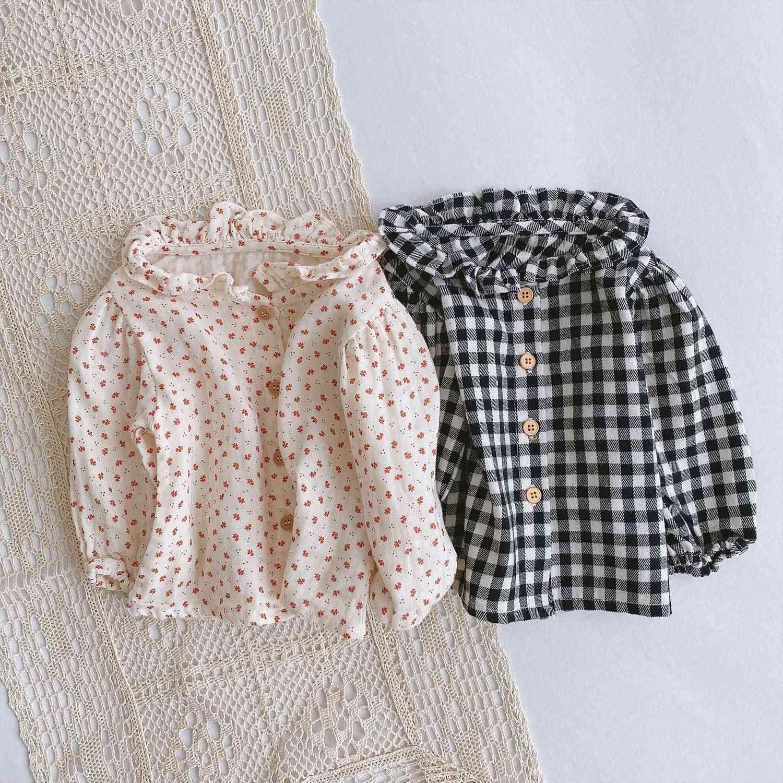Autumn Infant Pure Cotton Floral Long Sleeve Casual Plaid Shirt / Tops Clothes