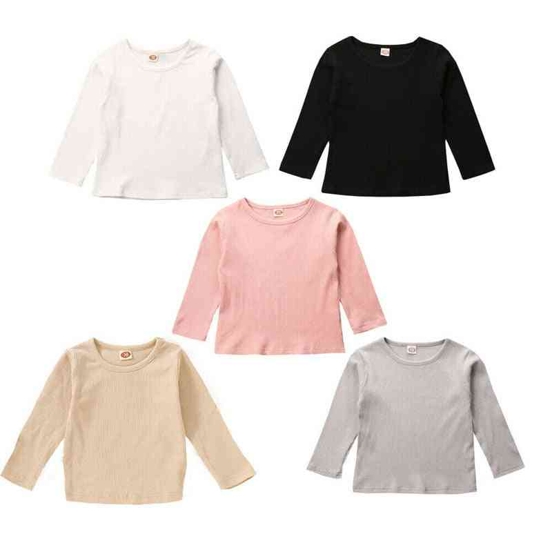 Children T Shirts, Long Sleeve Cotton, With Round Neck
