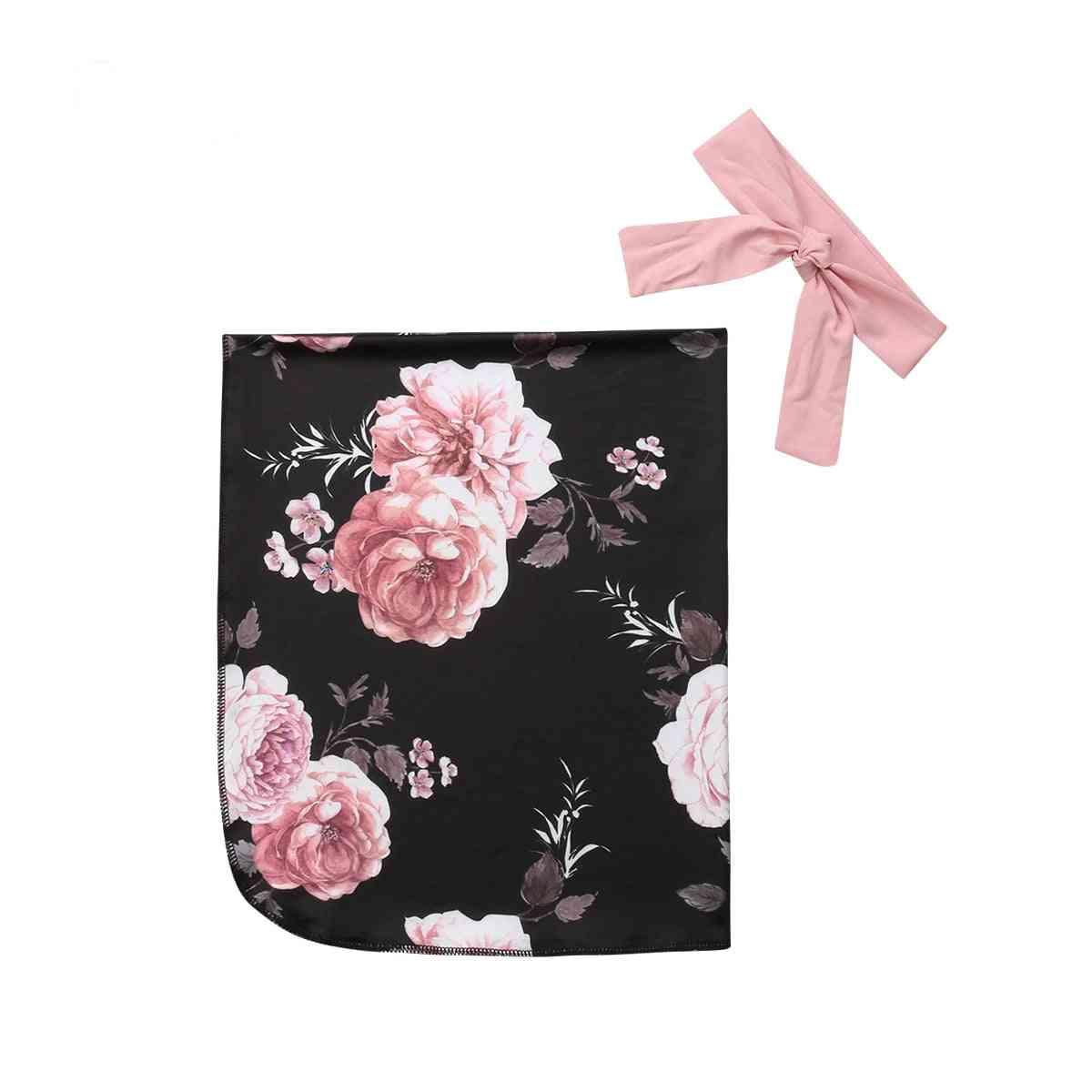 Newborn Baby Cotton Floral Print Blanket Swaddle Muslin Wrap Swaddling Sleeping Bag+headwear