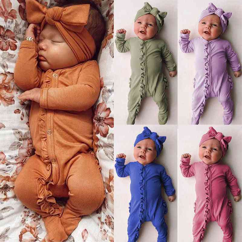 Spring Solid Ruffle Romper For Baby Girl