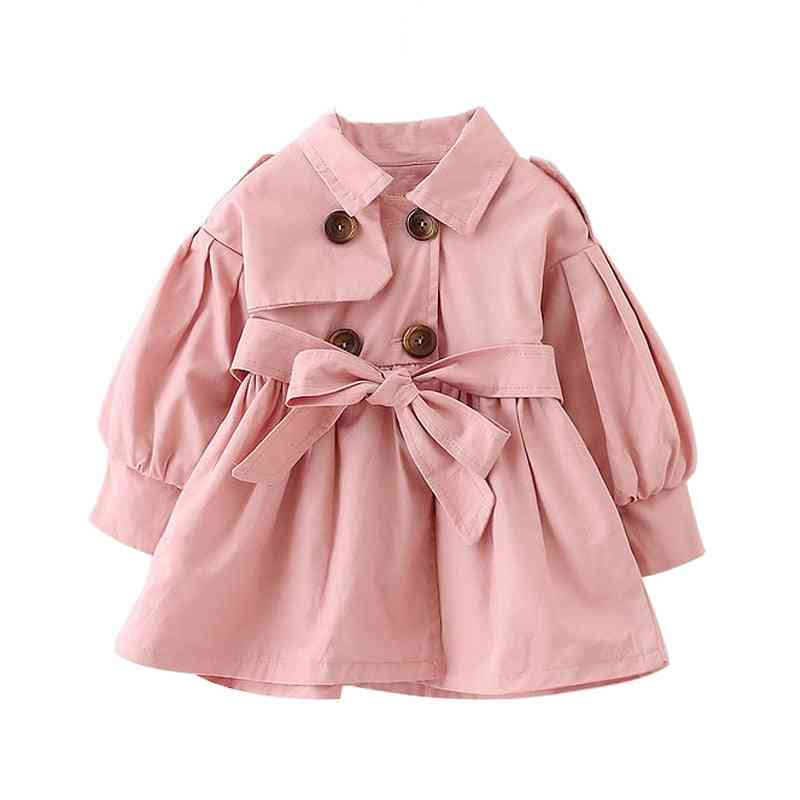 Full Sleeves, Collar Pattern Dress-baby Coat With Belt