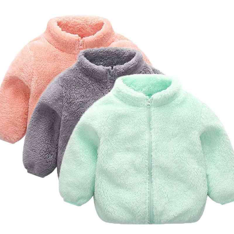 Baby  Long Sleeve Zipper Winter Clothes, Solid Velvet Coat