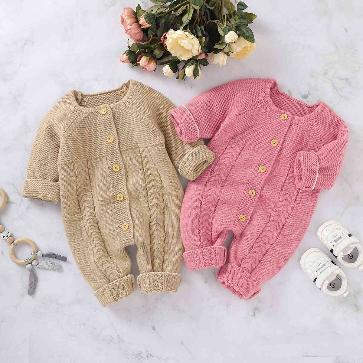 Autumn Winter Infant Baby Girl Knitted Romper Button Long Sleeve Jumpsuit Playsuit Sweater