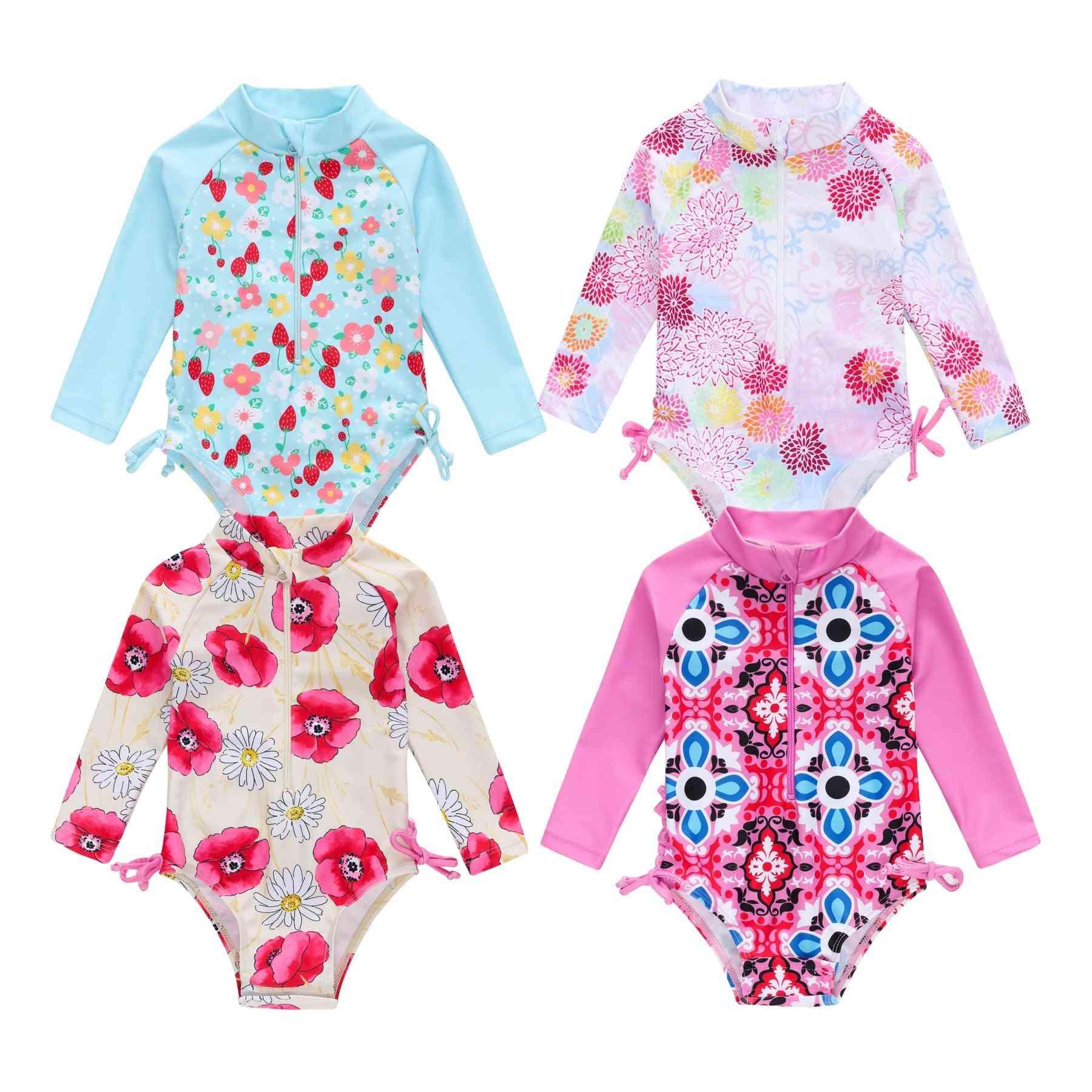 Infant Baby Girl Summer Swimsuit, Cute Long Sleeve Floral Swimwear Swimming & Bikini