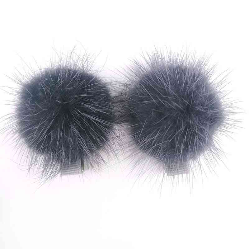 Baby Real Mink Fur Hair Clips