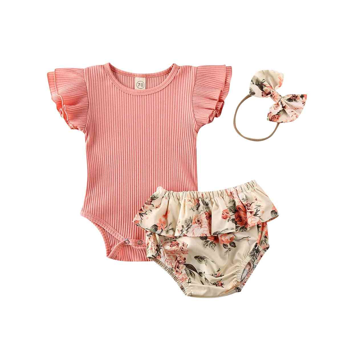 Baby Summer Clothing, Newborn Baby Girl Ruffled Ribbed Bodysuit Floral Shorts Headband