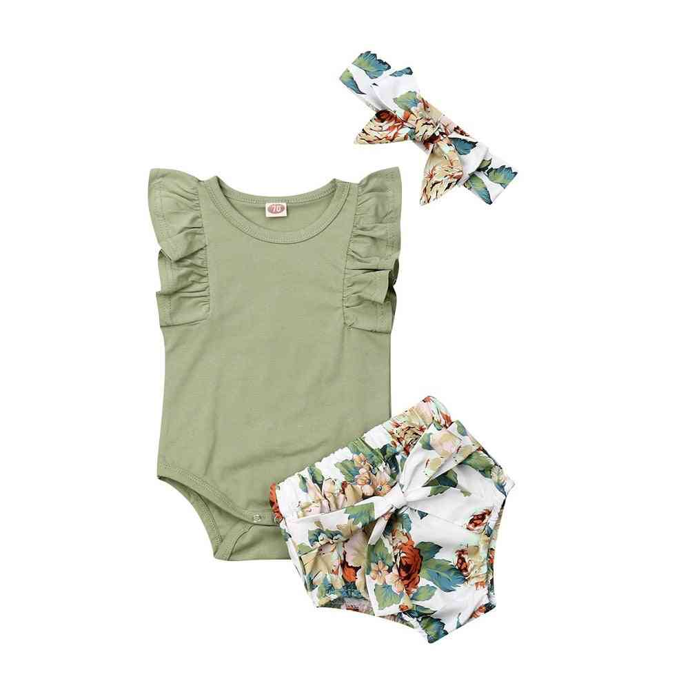 Newborn Baby Clothes Ruffle Sleeve Romper Floral Shorts Outfit