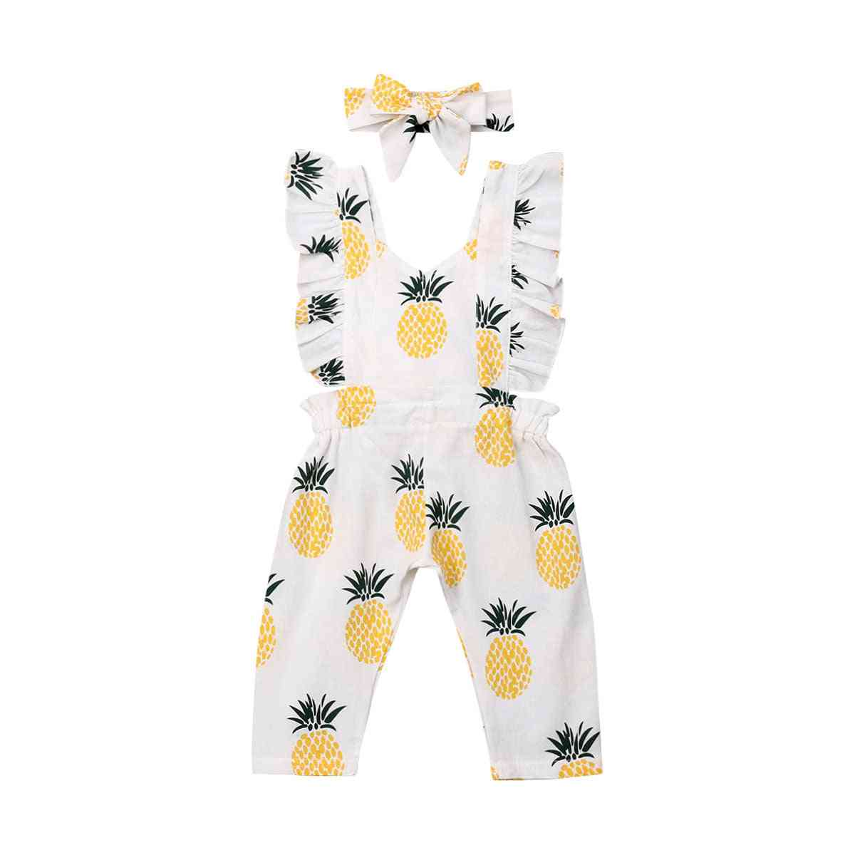 Newborn Baby Girl Clothes Sleevless Ruffle Pineapple Print Romper Jumpsuit Headband Outfits Summer Clothes