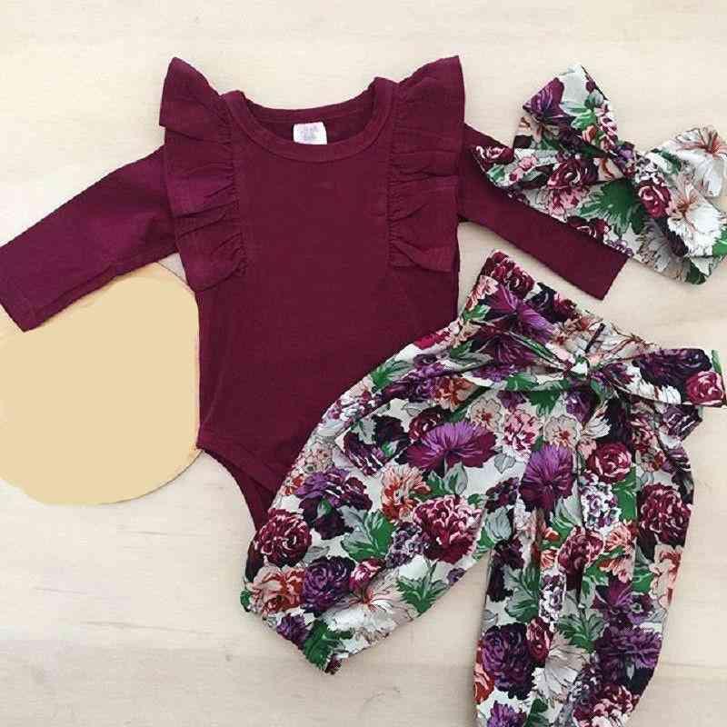 Baby Bodysuit,  Floral Lace-up Pants & Headwear Set