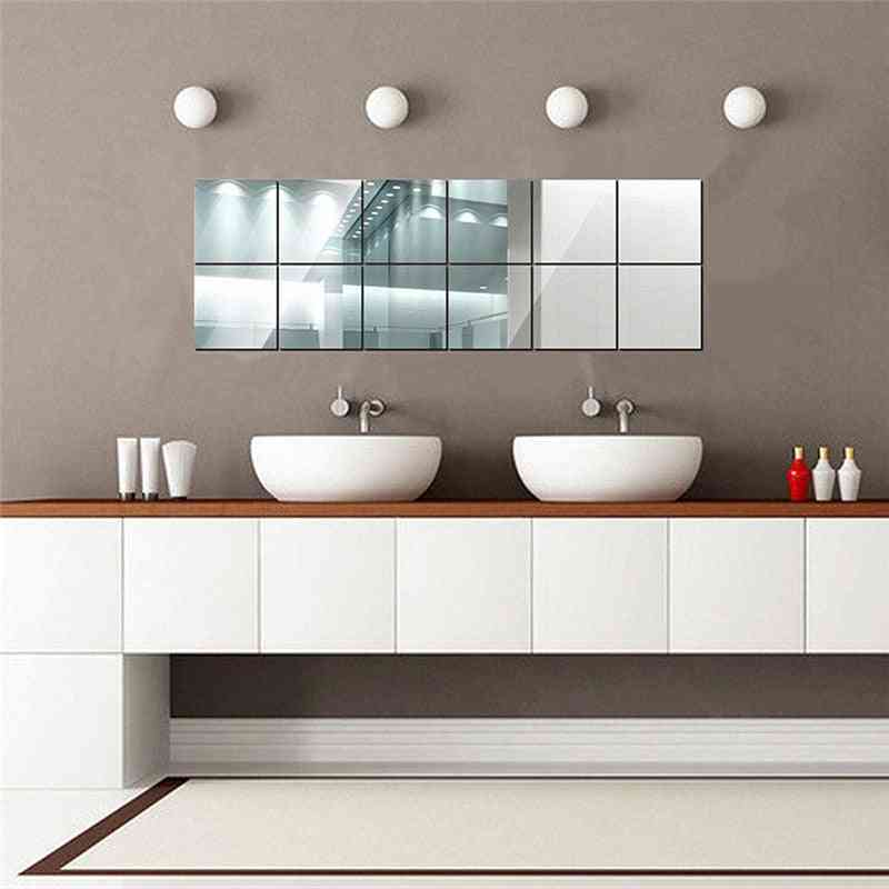 Square Mirror Tile Wall Stickers, Self-adhesive 3d Decal
