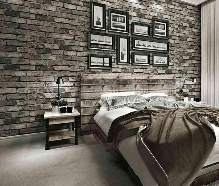 Modern Vintage Embossed 3d Brick Textured Wallpaper