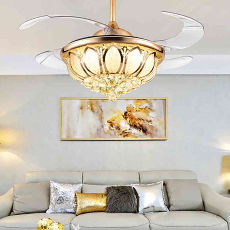 Rc Fan Ceiling Light -luxury Crystal Invisible Led