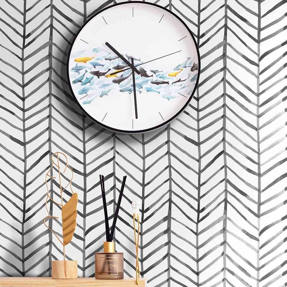 Modern Stripe, Geometric Line Pattern-peel And Stick Wallpaper