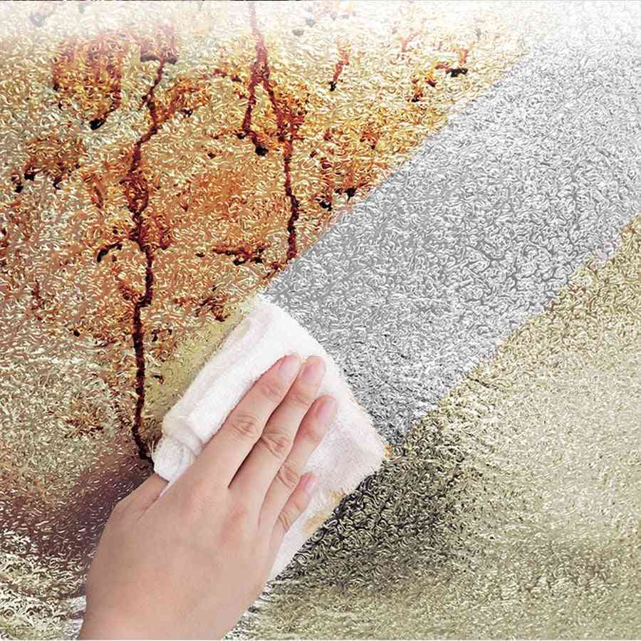 Oil-proof , Waterproof, Self Adhesive Pvc Wallpaper For Kitchen-peel And Stick