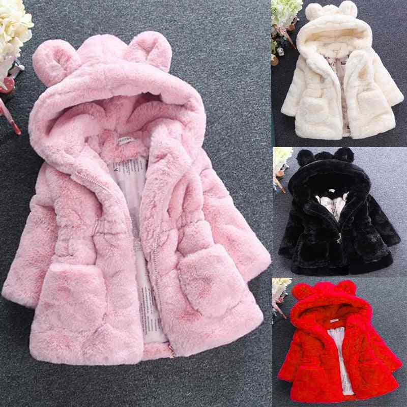 Winter Warm Girl Wool Sweater, Fur Padded Jacket, Big Ears Thickened Quilted Cotton Coat