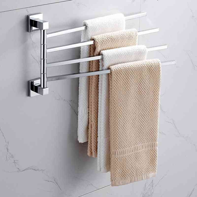 Stainless Steel 2/4 Swivel Towel Bars, Wall Mounted Rotatable Bathroom Accessories