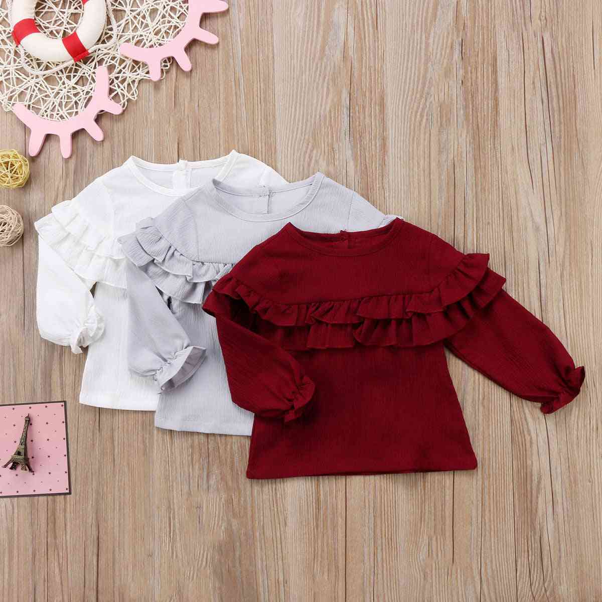 Infant Baby Girl Cotton Ruffles Long Sleeve Blouse Shirt / Tops Clothes
