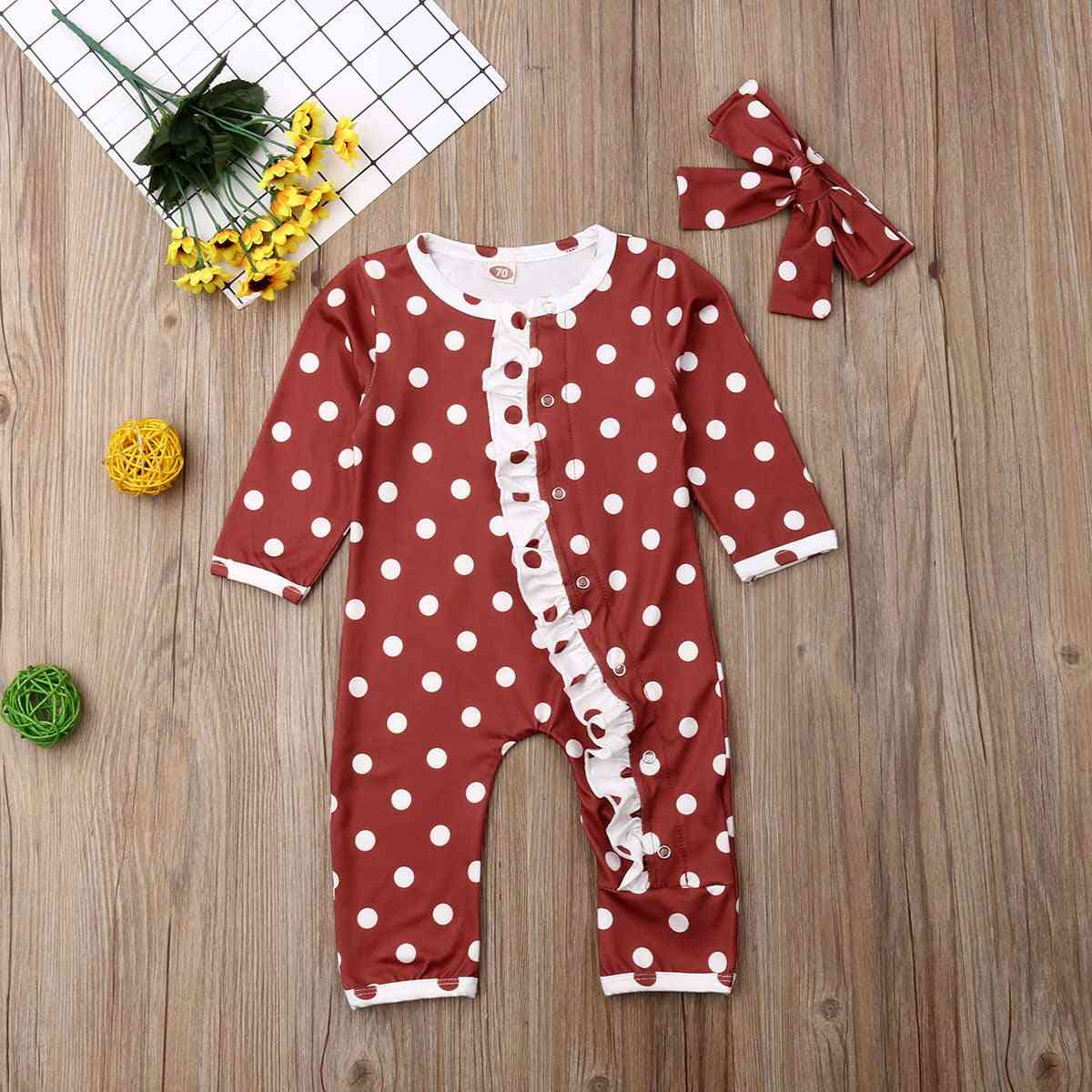 Round Neck, Dot Printed Rompers With Headband