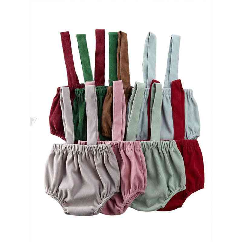 Summer Baby Rompers, Cute Corduroy Suspender Rompers Baby Clothing Shorts Bottoms 0-24m