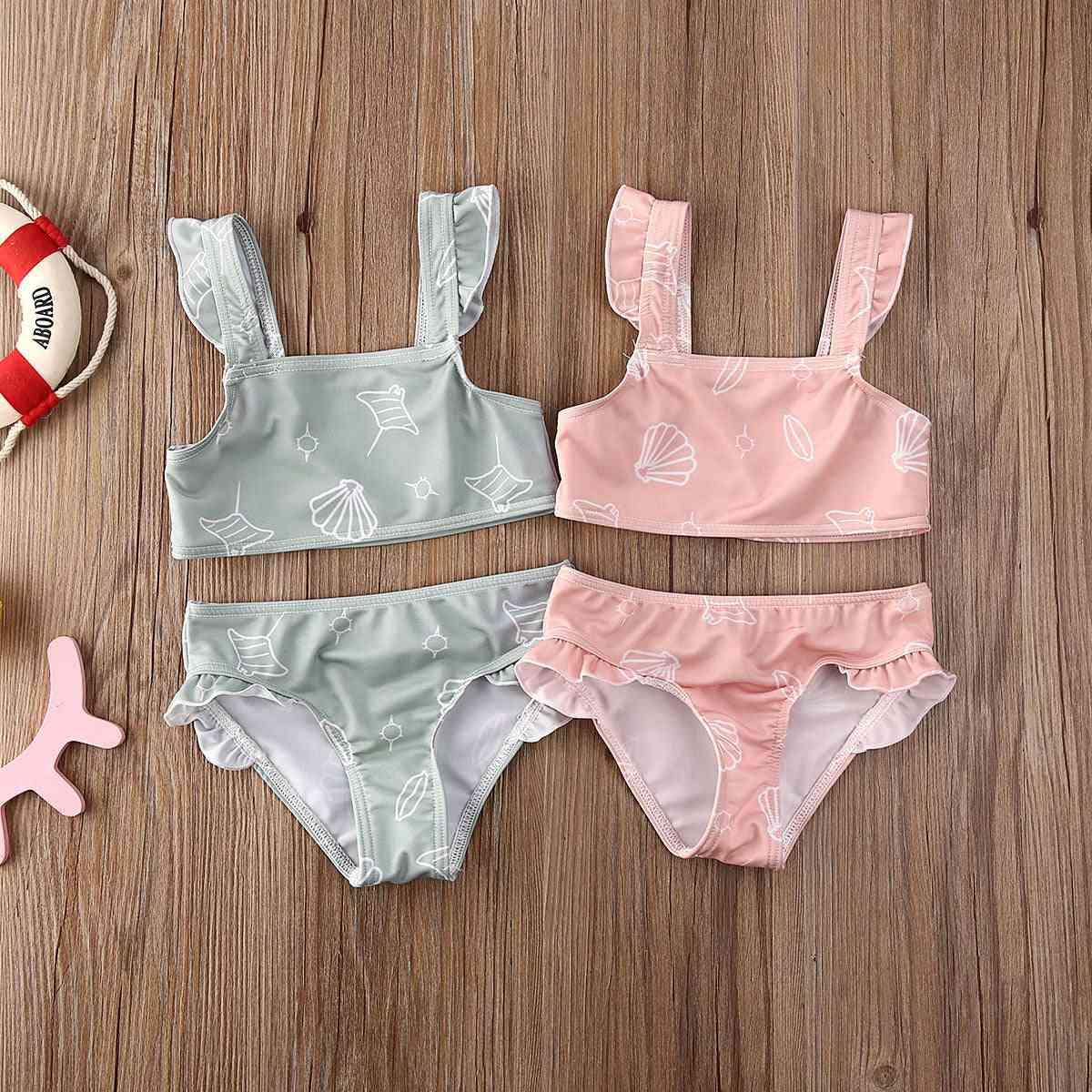 Sleeveless Ruffle Swimwear For Newborn Baby Girl
