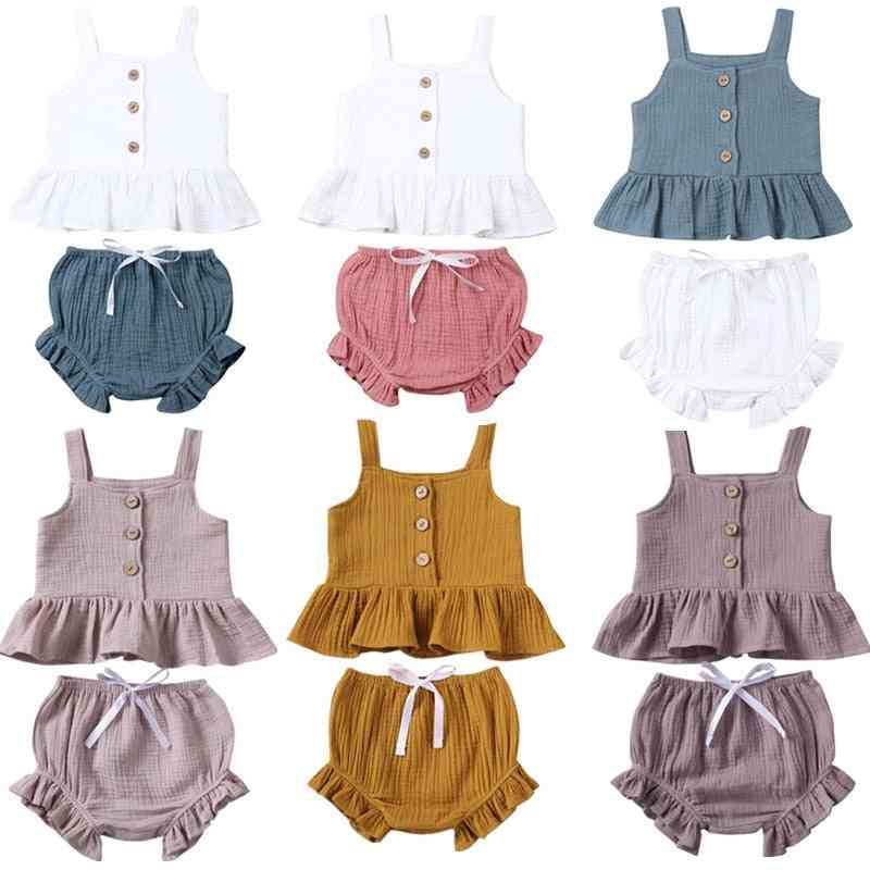 Button Sleeveless Mini Shorts Outfits For Newborn Baby