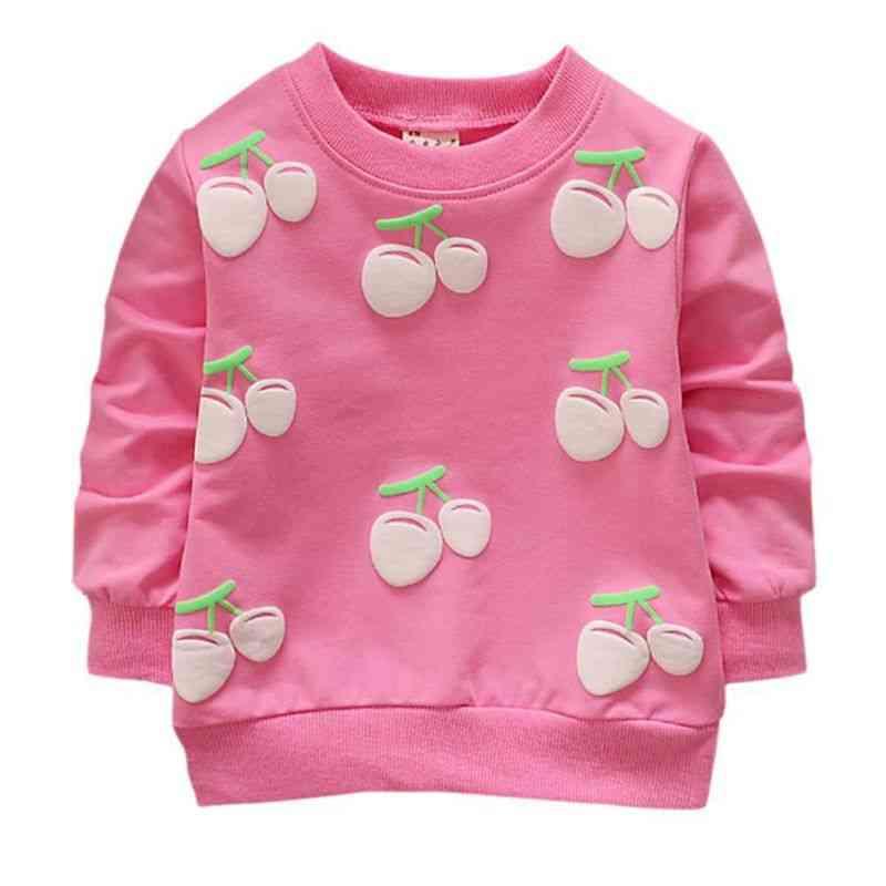 Long Sleeves And Cherry Printed Cute Sweatshirts