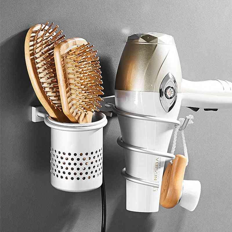 Gold Hair Dryer Holder, Space Aluminium, Wall Shelf Rack With Basket
