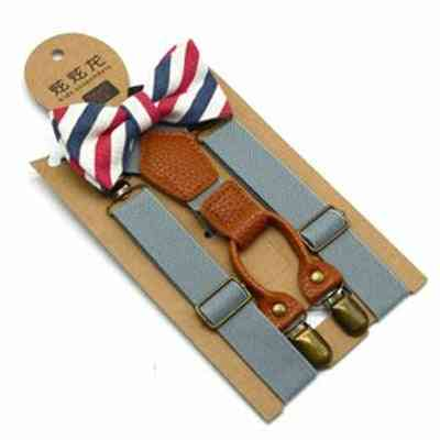 Baby Kid Suspenders With Bowtie, Fashion Bow Tie Set