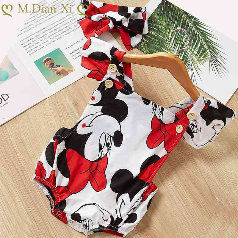 Cute Cartoon Printed Romper For With Headband