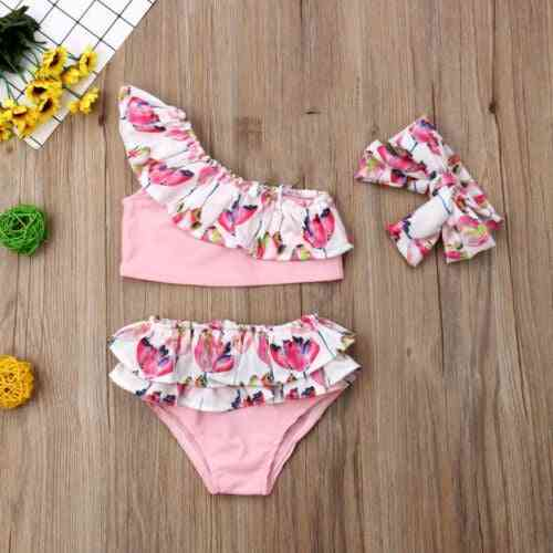 Flower Ruffle Bikini Set- Summer Cute Tankini Swimsuit With Headband