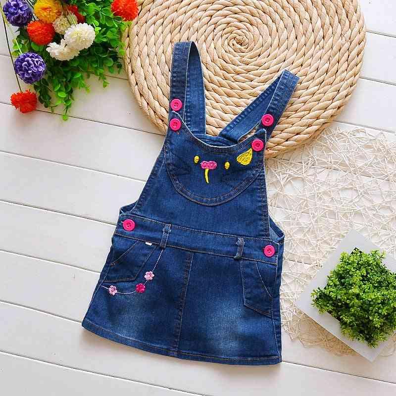 A-line Pattern Mini Denim Skirt/jumper For Infants