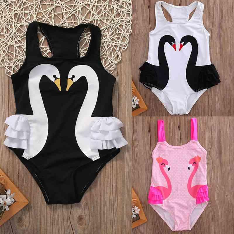Toddler Baby Tutu Swan Print, Swimsuit Swimwear Ruffle Bikini -bathing Suit