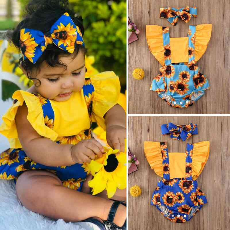 Summer Fashion Newborn Kids Baby Outfits Clothes Daily Bodysuit Flower Romper Headband