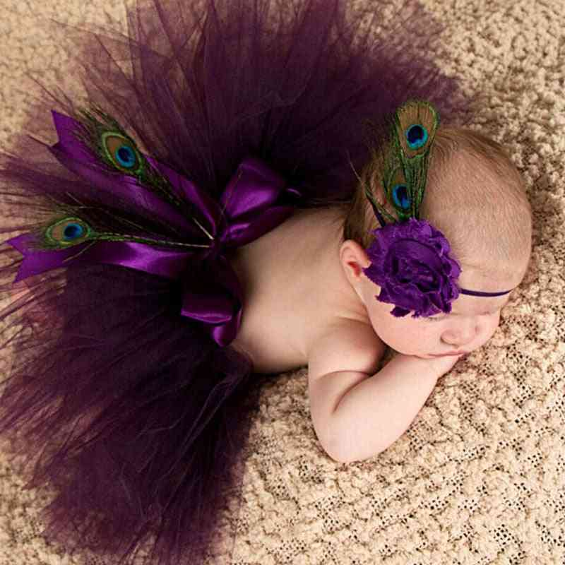 Princess Plum Peacock Feather Skirt With Vintage Headband - Photography Props For Newborn Baby Girl