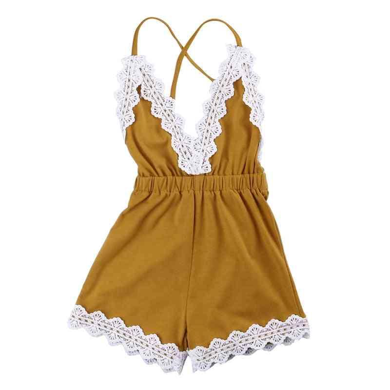 Girls Halter Lace Deep V Cute Romper Sunsuit Outfit Clothes, T-shirt